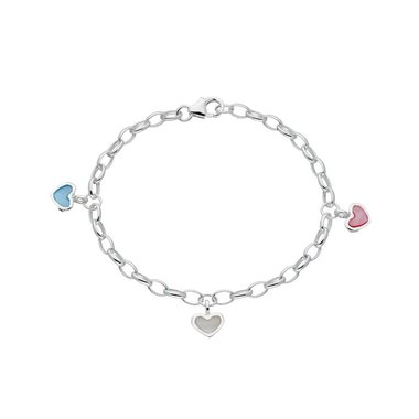 Zilveren kinderbedelarmband jasseron met hartjes / Lilly