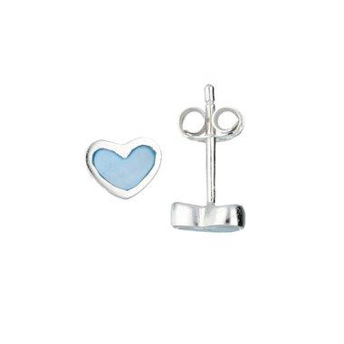 Zilveren kinderoorknopjes - blauw hart / Lilly