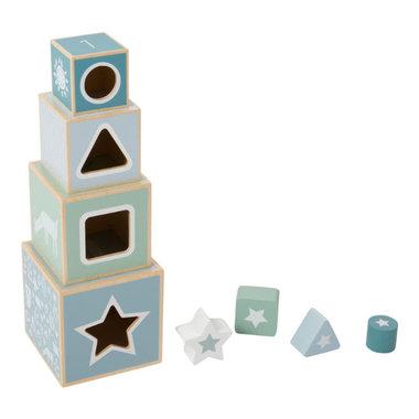 Houten stapelblokken blauw / Little Dutch