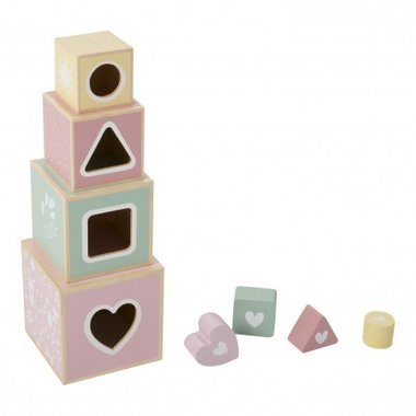Houten stapelblokken roze / Little Dutch