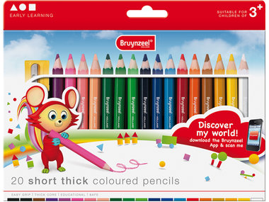 20 Short thick coloured pencils potloden / Bruynzeel