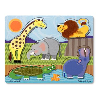 Houten voelpuzzel dierentuin (5 stukjes) / Melissa & Doug