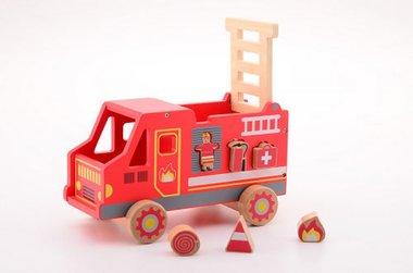 Houten vormenstoof brandweerauto / Jouéco