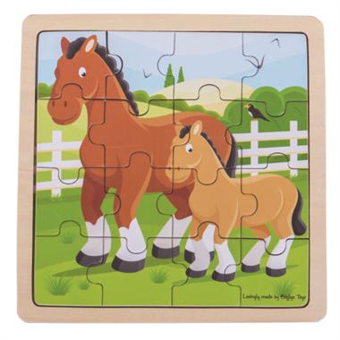 Houten puzzel Paard en veulen (16 stukjes) / BigJigs