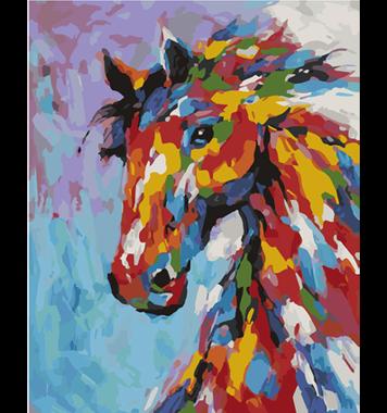 Schilderen op nummer Regenboog Paard Groot / Artventura