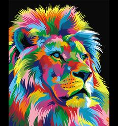 Schilderen op nummer Regenboog Leeuw Groot / Artventura