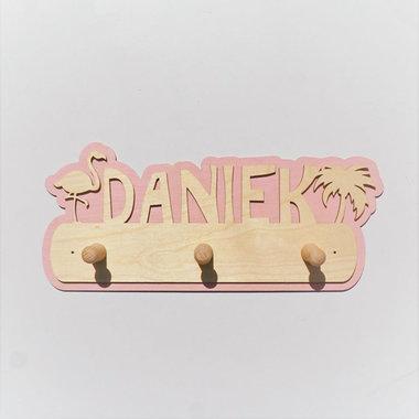 Houten kapstok Flamingo met naam / Het Houtlokael