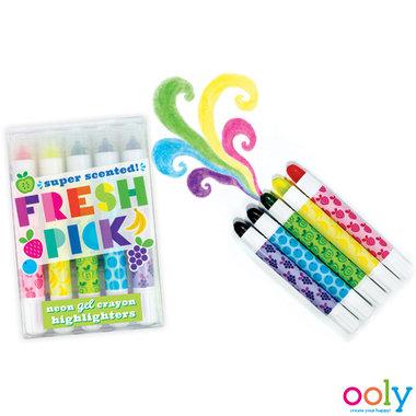 Fresh Pick Scented neon gel waskrijtjes markeerstiften / Ooly