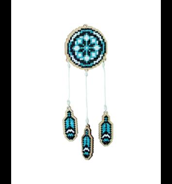 Houten knutselhanger Dromenvanger Blauw / Wizardi Diamond Painting