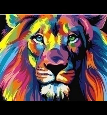 Schilderen op nummer Regenboog Leeuw A4 / Artventura