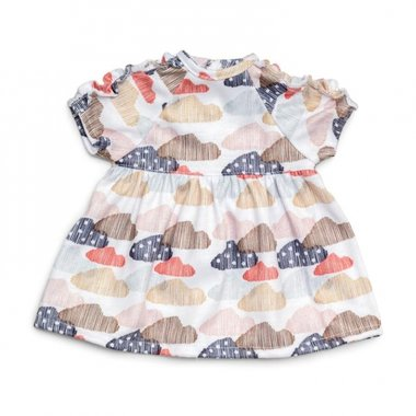Poppenkleding jurk met wolkjes) / Lillian Skrallan