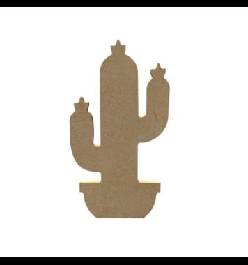 Houten knutselfiguur Cactus met Bloemen / Foam Clay (Gomille)