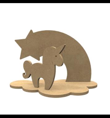 Houten knutselfiguren set Eenhoorn / Foam Clay (Gomille)