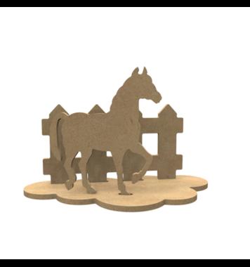 Houten knutselfiguren set Paard / Foam Clay (Gomille)
