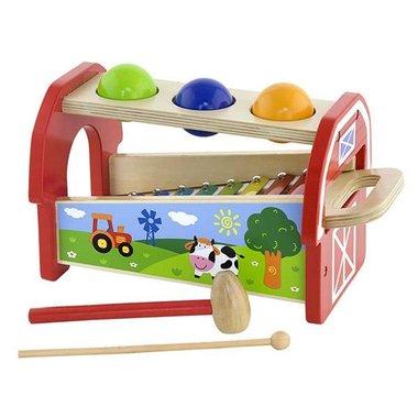 Houten Ballenbank met 3 ballen en xylofoon / Viga