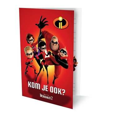 Verjaardagsuitnodiging The Incredibles, kom je ook (set van 6) / Disney