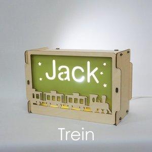 houten lamp met naam trein