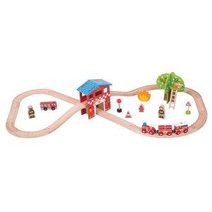 BJT037 Fire Station Train Set Brandweerkazerne BigJigs