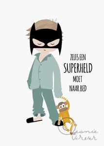 Poster Jongen Pyjama Superheld van Leonie Verver