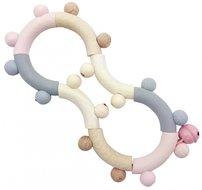Houten Rammelaar achtvormig (naturel/roze) / Hess