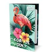 6 voorgedruktte verjaardagsuitnodigingen met envelop in een flamingo thema.
